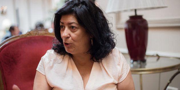 La escritora Almudena Grandes, durante una entrevista con 'El