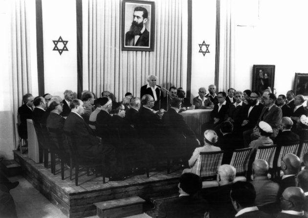 David Ben Gourion, en 1949, en el primer aniversario de la declaración de independencia