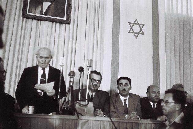 David Ben Gurion, leyendo la declaración de independencia de