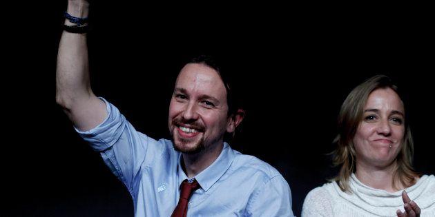 El líder de Podemos, Pablo Iglesias, y Tania Sánchez durante un acto en Madrid en
