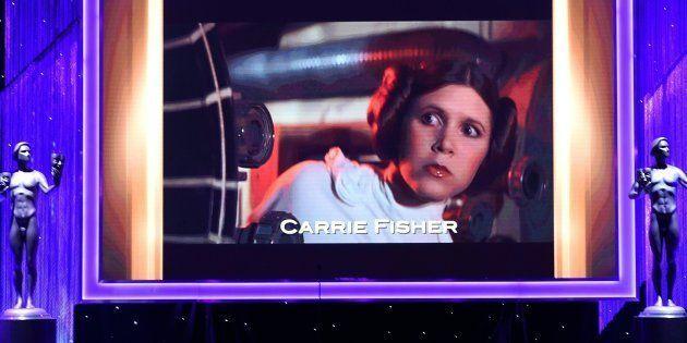 Un homenaje a Carrie Fisher en los premios Actors Guild Awards celebrados en Hollywood en enero de