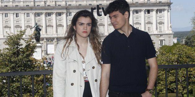Amaia Romero y Alfred García, durante un acto previo a Eurovisión en Madrid el 27 de abril de