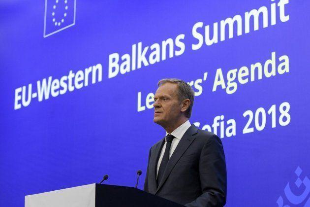 El presidente del Consejo Europeo, Donald Tusk, en la Cumbre UE-Balcanes