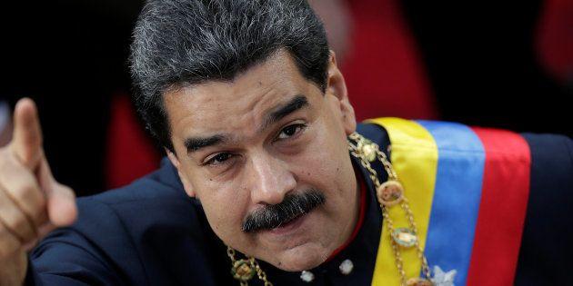Nicolás Maduro, a su llegada a la sesión de ayer de la Asamblea Nacional