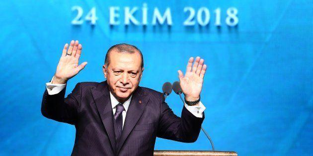 Recep Tayyip Erdogan, ayer, durante una convención en
