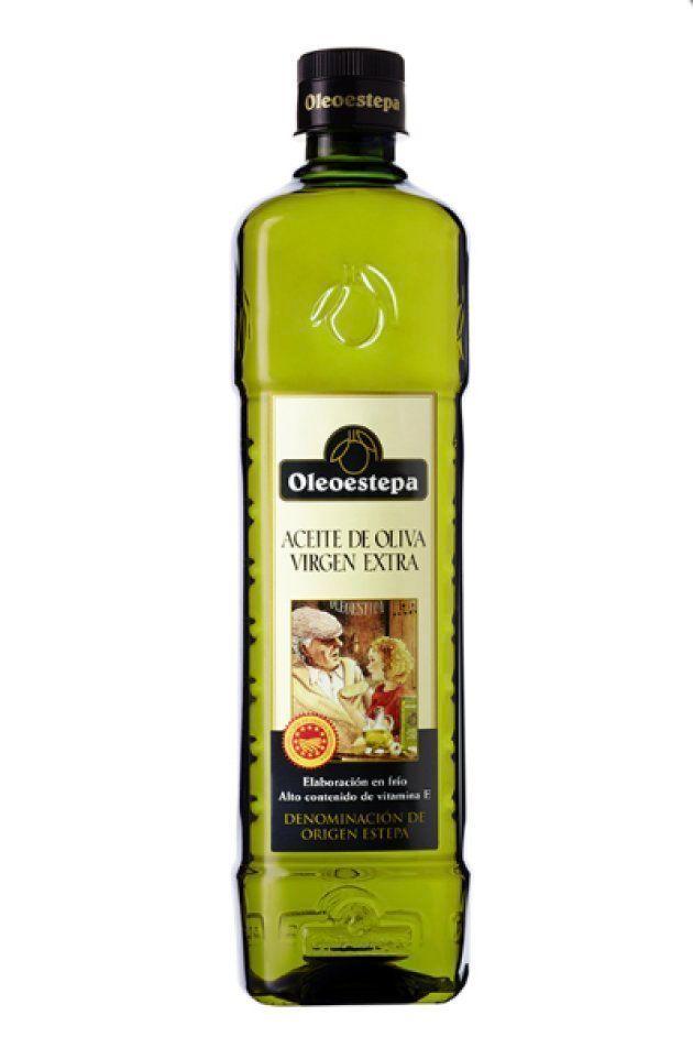 Una botella de aceite de oliva virgen extra