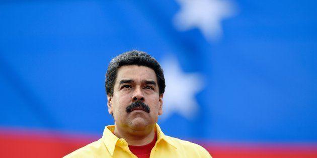 El presidente de Venezuela, Nicolás Maduro, durante un mitin de campaña en Caracas, en la campaña de