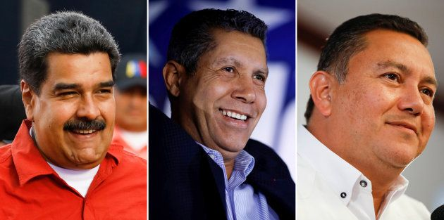 Nicolás Maduro, Henri Falcón y Javier Bertucci, los tres principales candidatos a las elecciones
