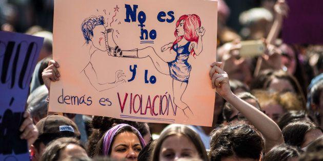 Protesta por la sentencia de La Manada ante el Ministerio de Justicia de Madrid, el pasado 10 de
