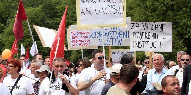 Manifestación del Primero de Mayo en Zagreb