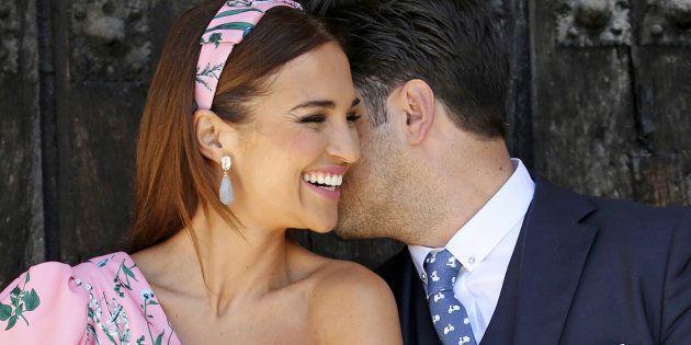 Paula Echevarría y David Bustamante, en la Primera Comunión de su hija, celebrada el 17 de junio en San...
