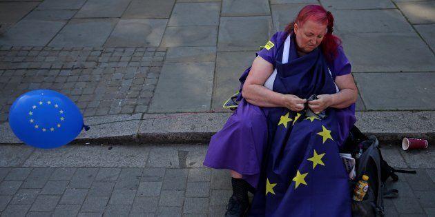 Una manifestante británica contraria al
