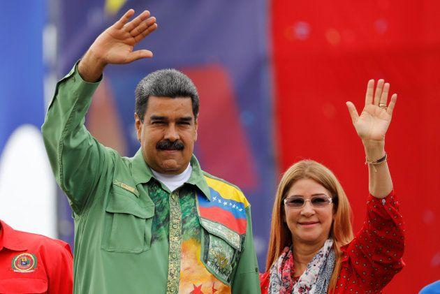 Maduro junto a su mujer, Cilia