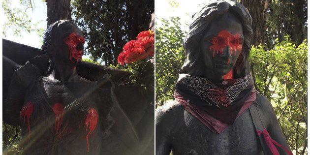 Profanan las estatuas de Lola y Antonio Flores del cementerio de la