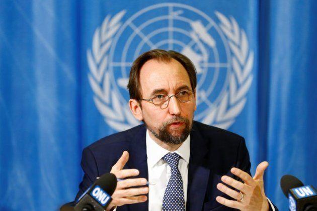 Zeid Ra'ad al-Hussein, el alto comisionado de la ONU para los Derechos Humanos, durante su intervención...
