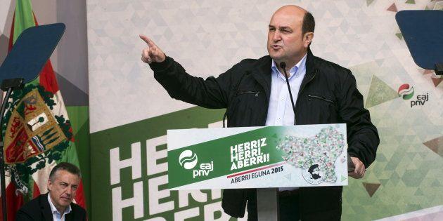 Andoni Ortuzar, presidente del EBB (Ejecutiva del PNV), en el Aberri Eguna (Day of the Basque Nation)...