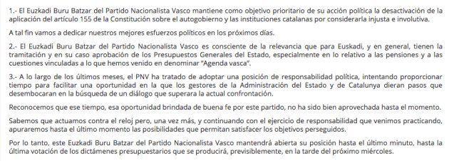 El PNV decidirá en el último minuto su apoyo a los