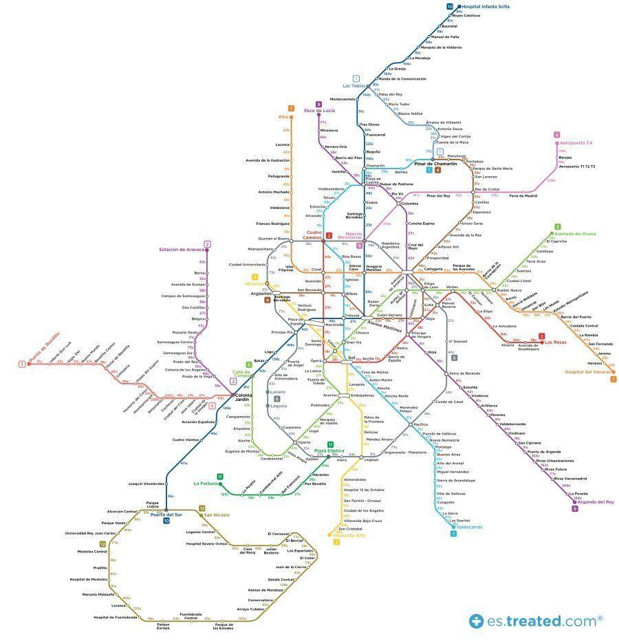 Este mapa de Metro de Madrid muestra cuántas calorías quemas si andas entre