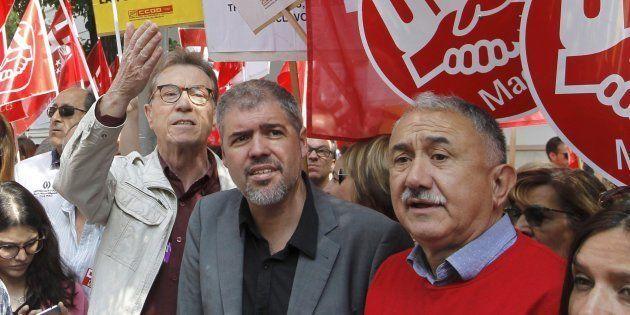 Los secretarios generales de CCOO y UGT, Unai Sordo y Pepe Álvarez, participan en la