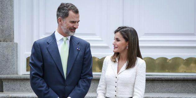 El rey Felipe y la reina Letizia en el palacio de la Zarzuela en una recepción en