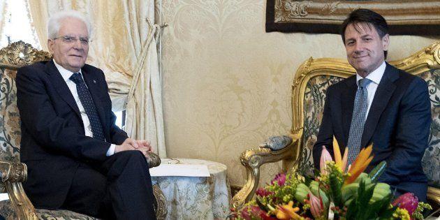 Giuseppe Conte durante su reunión con el presidente italiano, Sergio