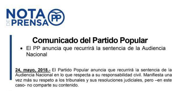 El comunicado del PP tras conocer la sentencia de la trama