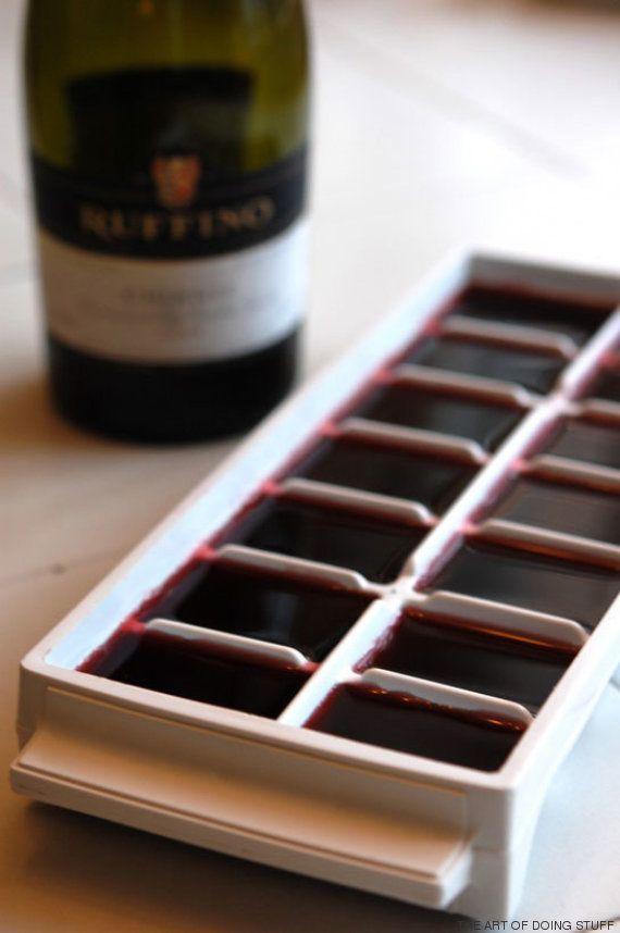 Congela el vino de las botellas que se quedan abiertas y no te
