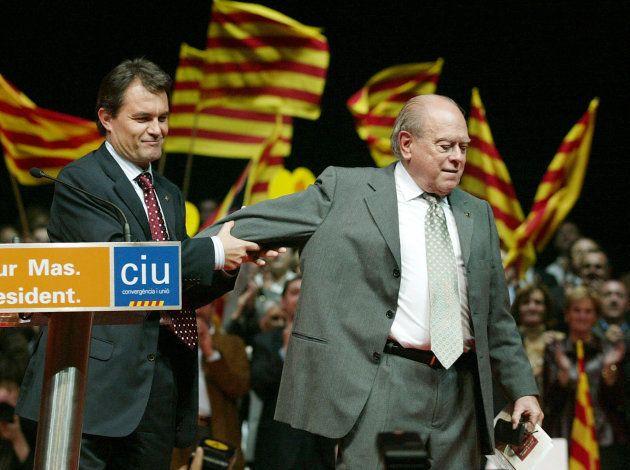Artur Mas y Jordi Pujol, fundador de Convergencia, en un mitin de las elecciones autonómicas de