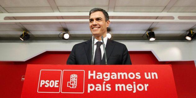 El secretario general del PSOE, Pedro Sánchez, en la sede de