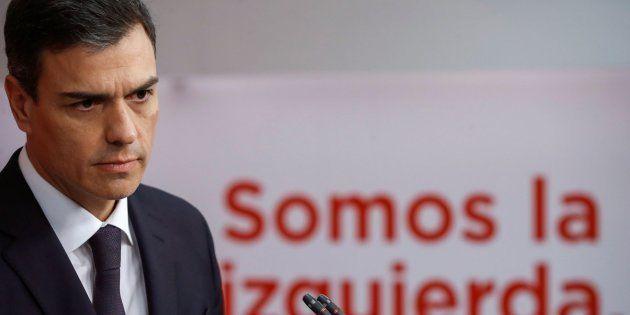 El líder del PSOE, Pedro Sánchez, en rueda de prensa en