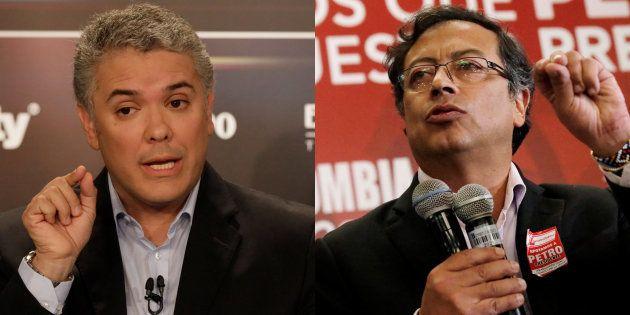 Iván Duque, uribista, y Gustavo Petro, de la izquierda, son los dos candidatos mejor situados ante las...