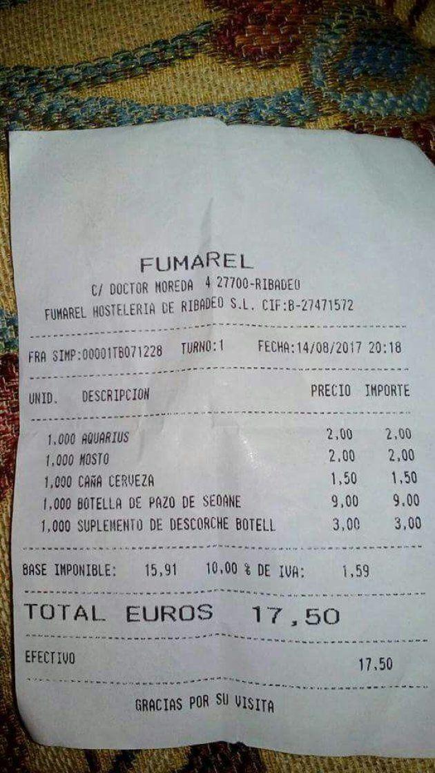 Un restaurante gallego explica este polémico cobro a un