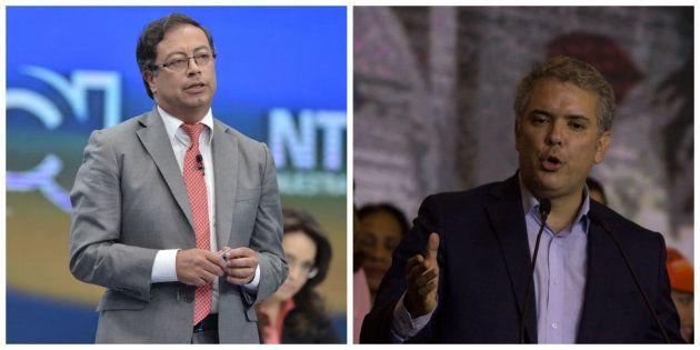 Gustavo Petro (i) e Iván Duque se disputarán la presidencia de Colombia en la segunda vuelta