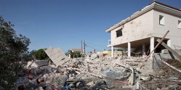Estado en el que quedó la casa de Alcanar (Tarragona) tras la explosión del material que guardaban los...