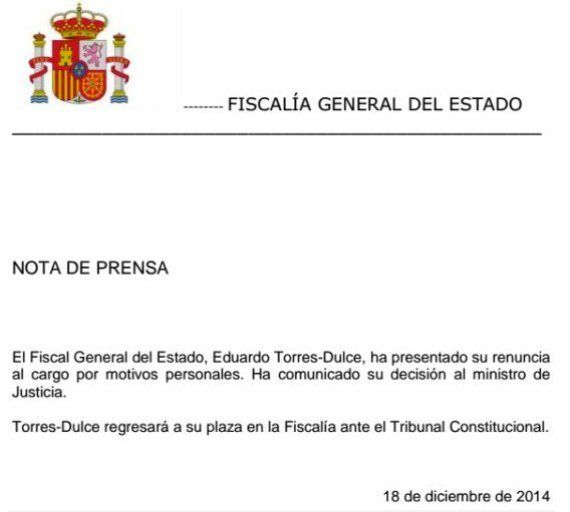 Dimite Eduardo Torres-Dulce, fiscal general del