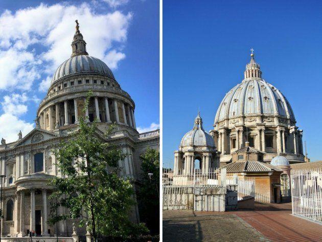 A la izquierda, la Catedral de St. Paul en Londres (Inglaterra) y a la derecha, la Basílica de San Pedro...