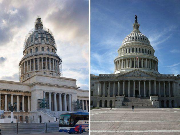 A la izquierda, El Capitolio de La Habana (Cuba) y a la derecha El Capitolio de Washington D.C.