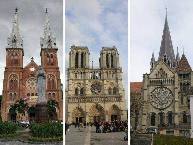 Catedral de Loussanne (Suiza) (izquierda), Catedral de Notre-Dame de París (Francia) (centro) y Catedral...