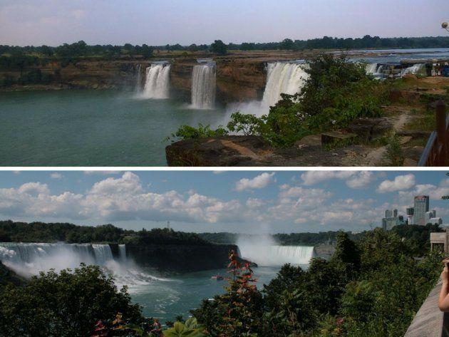 Arriba, las cataratas Chitrakoot (India) y abajo, las cataratas del Niágara