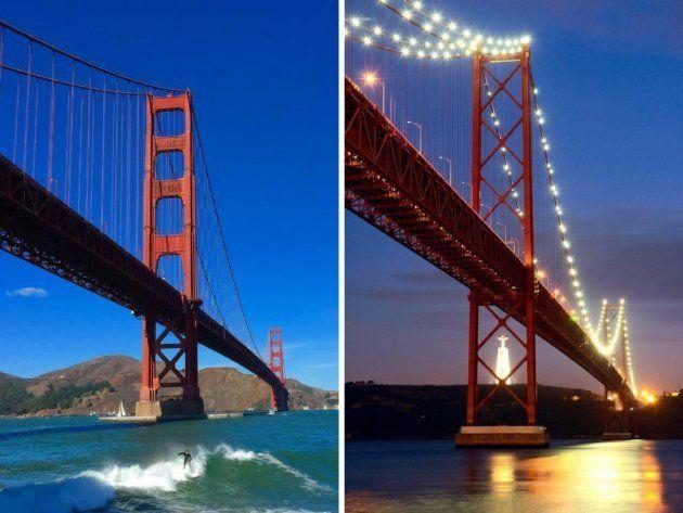 A la izquierda, el Golden Gate de San Francisco (EEUU) y a la derecha, el Ponte 25 de abril de Lisboa