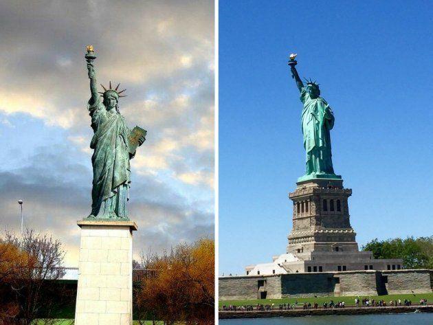 A la izquierda, la Estatua de la Libertad en París (Francia), a la derecha la de Nueva York