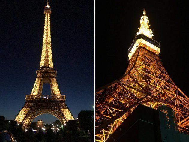 A la izquierda, la Torre Eiffel de París (Francia) y a la derecha, la Torre de Tokio
