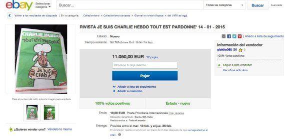 Ejemplares de Charlie Hebdo, en eBay por más de... ¡11.000