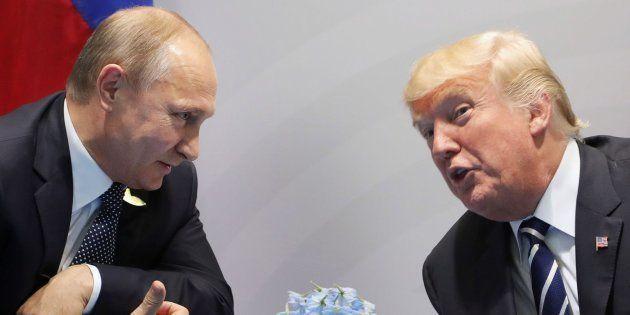 Donald Trump y Vladimir Putin durante el G20 de Hamburg en julio de