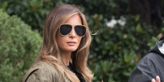 US President Donald Trump and First Lady Melania Trump depart the White House in Washington, DC, on August...