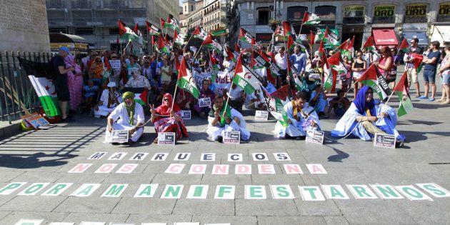 Protesta a favor de la soberanía del pueblo saharaui en Madrid, en una imagen de