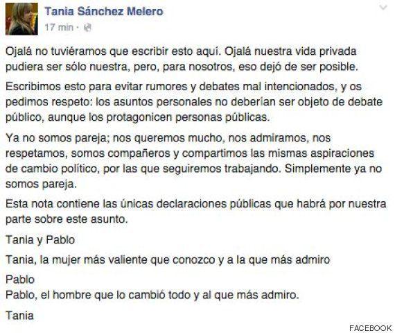 Pablo Iglesias y Tania Sánchez rompen su