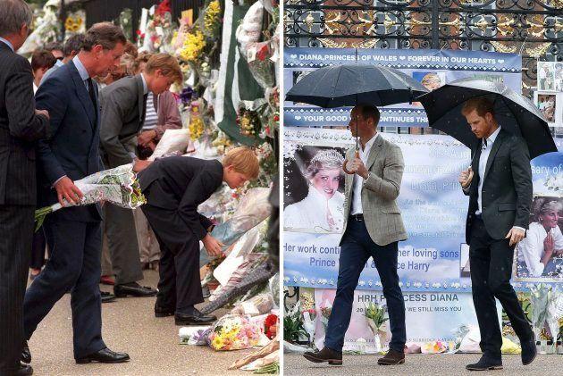 Guillermo y Enrique en el palacio de Kensington, en una imagen del 5 de septiembre de 1997 frente a otra...