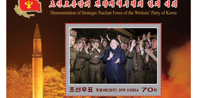 Sello de propaganda de Corea del Norte, festejando el último lanzamiento de