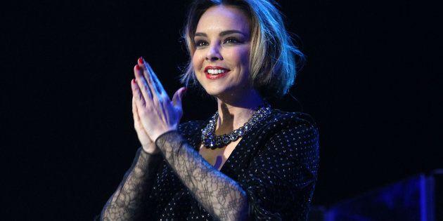 La cantante Chenoa, durante un concierto en Madrid con motivo de su gira 'Soy humana' el 21 de marzo...